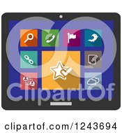 Clipart Of Colorful Multimedia Icons On A Tablet Screen Royalty Free Vector Illustration