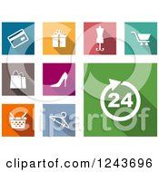 Clipart Of Colorful Online Shopping Icons Royalty Free Vector Illustration by Vector Tradition SM