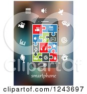 Clipart Of A Smartphone With Colorful Infographic Designs And Jigsaw Puzzle Piece App Icons Royalty Free Vector Illustration