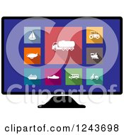 Clipart Of Colorful Travel And Modes Of Transport Icons On A Computer Screen Royalty Free Vector Illustration