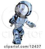 Blue Metal Robot Getting A Closer Look Through A Magnifying Glass