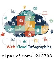 Clipart Of A Puzzle Piece Web Cloud Infographics Diagram With Icons Royalty Free Vector Illustration by Vector Tradition SM