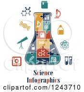 Clipart Of Science Infographics Text With Icons And Puzzle Pieces Forming A Beaker Royalty Free Vector Illustration