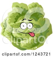 Clipart Of A Goofy Cabbage Character Royalty Free Vector Illustration