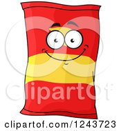 Clipart Of A Potato Chip Bag Character Royalty Free Vector Illustration