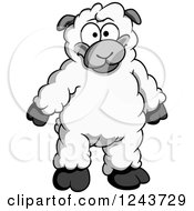 Clipart Of A Cartoon Lamb Standing Royalty Free Vector Illustration by Vector Tradition SM