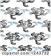 Clipart Of A Seamless Background Pattern Of Tribal Sea Turtles And Waves Royalty Free Vector Illustration by Vector Tradition SM