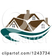 Clipart Of A Teal Swoosh Under A House With A Blue Roof Royalty Free Vector Illustration