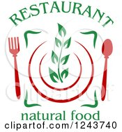 Clipart Of A Sprig On A Plate With Silverware And Restaurant Natural Food Text Royalty Free Vector Illustration