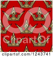 Clipart Of A Seamless Background Pattern Of Gold Crowns On Red Royalty Free Vector Illustration