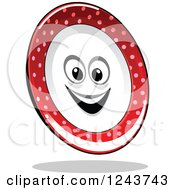 Clipart Of A Happy Red And White Polka Dot Plate Royalty Free Vector Illustration