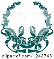 Clipart Of A Vintage Teal Coat Of Arms Wreath With Ribbons 4 Royalty Free Vector Illustration