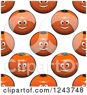 Clipart Of A Seamless Background Pattern Of Happy Oranges 3 Royalty Free Vector Illustration by Vector Tradition SM
