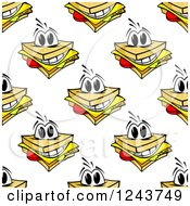 Clipart Of A Seamless Background Pattern Of Happy Cheese Sandwiches Royalty Free Vector Illustration
