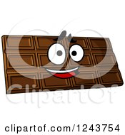 Clipart Of A Cartoon Happy Chocolate Candy Bar Royalty Free Vector Illustration
