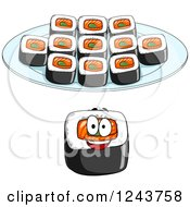 Clipart Of A Happy Sushi Roll In Front Of A Plate Royalty Free Vector Illustration