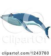 Clipart Of A Happy Blue Baleen Whale Swimming Royalty Free Vector Illustration