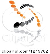 Clipart Of A Black And Orange Dot Windmill And Reflection Royalty Free Vector Illustration by Vector Tradition SM