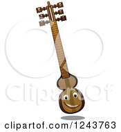 Clipart Of A Happy Turkish Kemenche Instrument Royalty Free Vector Illustration