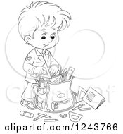 Clipart Of A Black And White School Boy Packing Supplies In A Bag Royalty Free Vector Illustration by Alex Bannykh