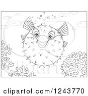 Clipart Of A Black And White Puffer Fish Over Corals Royalty Free Vector Illustration