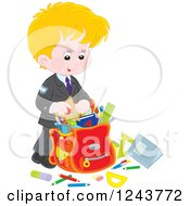 Clipart Of A Blond Caucasian School Boy Packing Supplies In A Bag Royalty Free Vector Illustration by Alex Bannykh