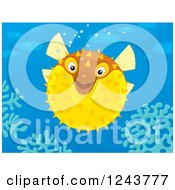 Clipart Of A Yellow Puffer Fish Over Corals Royalty Free Vector Illustration