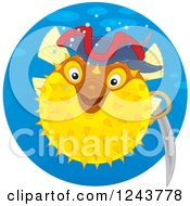 Clipart Of A Yellow Pirate Puffer Fish In A Blue Circle Royalty Free Vector Illustration
