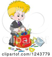 Clipart Of A Blond School Boy Packing Supplies In A Bag Royalty Free Vector Illustration by Alex Bannykh
