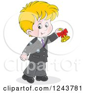 Clipart Of A Blond School Boy Ringing A Bell Royalty Free Vector Illustration by Alex Bannykh