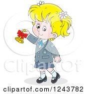 Clipart Of A Blond School Girl Ringing A Bell Royalty Free Vector Illustration by Alex Bannykh