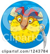 Clipart Of A Pirate Puffer Fish In A Blue Circle Royalty Free Vector Illustration by Alex Bannykh