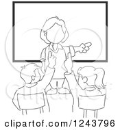 Black And White Sketched Female Teacher And Students In Class