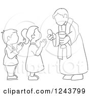 Clipart Of A Black And White Sketched Boy And Girl At Their First Communion Royalty Free Vector Illustration by David Rey