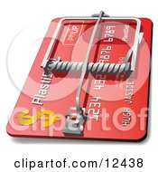 Red Credit Card Debt Trap Clipart Illustration