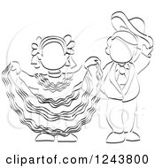 Clipart Of A Black And White Sketched Boy And Girl Folk Dancing Royalty Free Vector Illustration