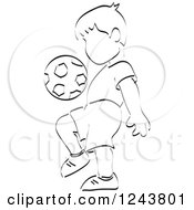 Clipart Of A Black And White Sketched Boy Practicing With A Soccer Ball Royalty Free Vector Illustration