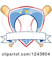 Clipart Of Crossed Bats And A Blue And Red Baseball Shield With A Banner Royalty Free Vector Illustration