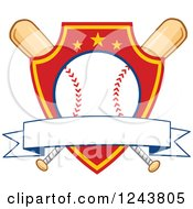 Clipart Of Crossed Bats And A Red And Yellow Baseball Shield With A Banner Royalty Free Vector Illustration by Hit Toon