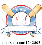 Clipart Of Crossed Bats And A Baseball Over A Circle With A Banner Royalty Free Vector Illustration by Hit Toon