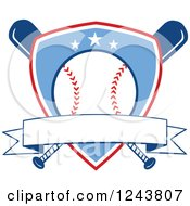 Clipart Of Crossed Bats And A Blue Baseball Shield With A Banner Royalty Free Vector Illustration by Hit Toon