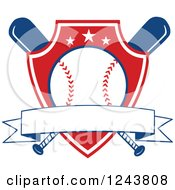 Clipart Of Crossed Bats And A Red Baseball Shield With A Banner Royalty Free Vector Illustration by Hit Toon