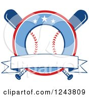 Clipart Of Crossed Bats And A Baseball Circle With A Banner Royalty Free Vector Illustration by Hit Toon