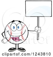 Clipart Of A Cartoon Baseball Character Holding A Blank Sign Royalty Free Vector Illustration by Hit Toon