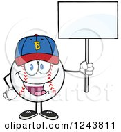 Clipart Of A Cartoon Baseball Character Wearing A Cap And Holding A Blank Sign Royalty Free Vector Illustration