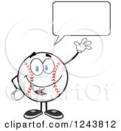 Clipart Of A Talking Cartoon Baseball Character Waving Royalty Free Vector Illustration