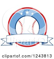 Clipart Of A Cartoon Baseball In A Red And Blue Circle With A Banner Royalty Free Vector Illustration by Hit Toon