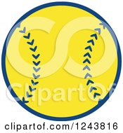 Clipart Of A Cartoon Softball Baseball Royalty Free Vector Illustration