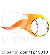 Clipart Of A Cartoon Baseball With A Trail Of Flames Royalty Free Vector Illustration by Hit Toon
