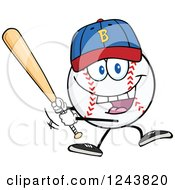 Clipart Of A Cartoon Baseball Character Wearing A Cap And Batting Royalty Free Vector Illustration by Hit Toon